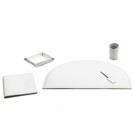 5er-Set Schreibtischzubehör aus Leder, Made in Italy - Medea
