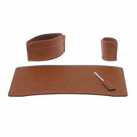 Zubehör Schreibtisch aus regeneriertem Leder Made in Italy - Brando