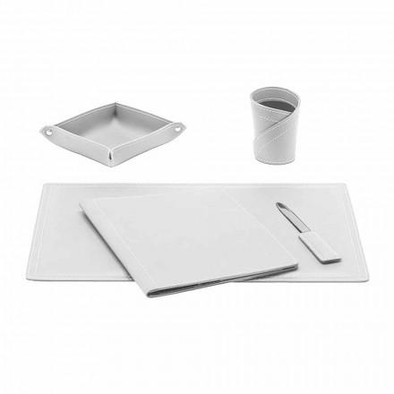 Zubehör Schreibtisch aus gebundenem Leder, 5 Stück, Made in Italy - Ascanio