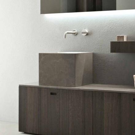 Hohe quadratische Waschtischplatte aus modernem Designstein - Farartlav1