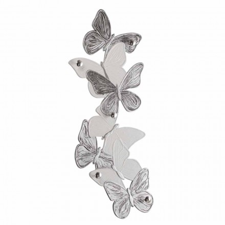 Design Schmetterlingen-Wandgarderobe mit fünf Knöpfen made in Italy Brice