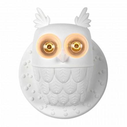 Wandleuchte 2 Lichter in Matt White Ceramic Modern Design Owl - Owl