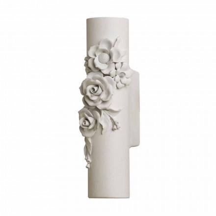 Wandleuchte aus mattweißer Keramik mit dekorativen Blumen - Revolution