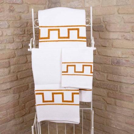 Handtuch handbedruckt in Baumwolle Unique Piece Italian - Viadurini von Marchi