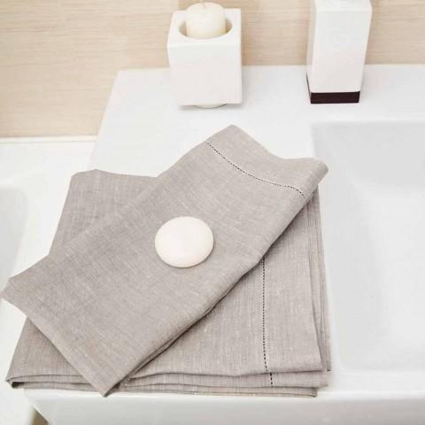 Badetuch aus weißem oder natürlichem Leinen Made in Italy - Chiana