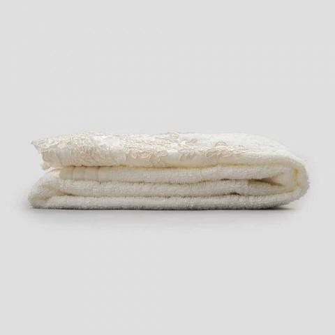 Baumwoll-Terry-Gesichtstuch mit Spitzen- und Leinen-Mischkante - Ginova