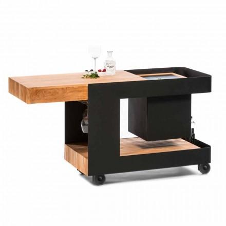 Modernes mobiles Bar-on-Wheels-Design mit Tisch aus Holz und Stahl - Giancalliope