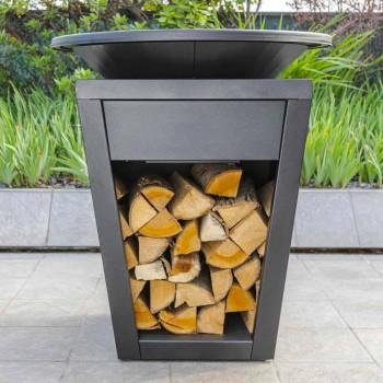 Holzgrill mit Kochplatte und Holzhalterfach - Ferran