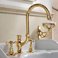 3-Loch Waschtischmischer mit hohem Auslauf in Classic Handmade Brass - Fioretta
