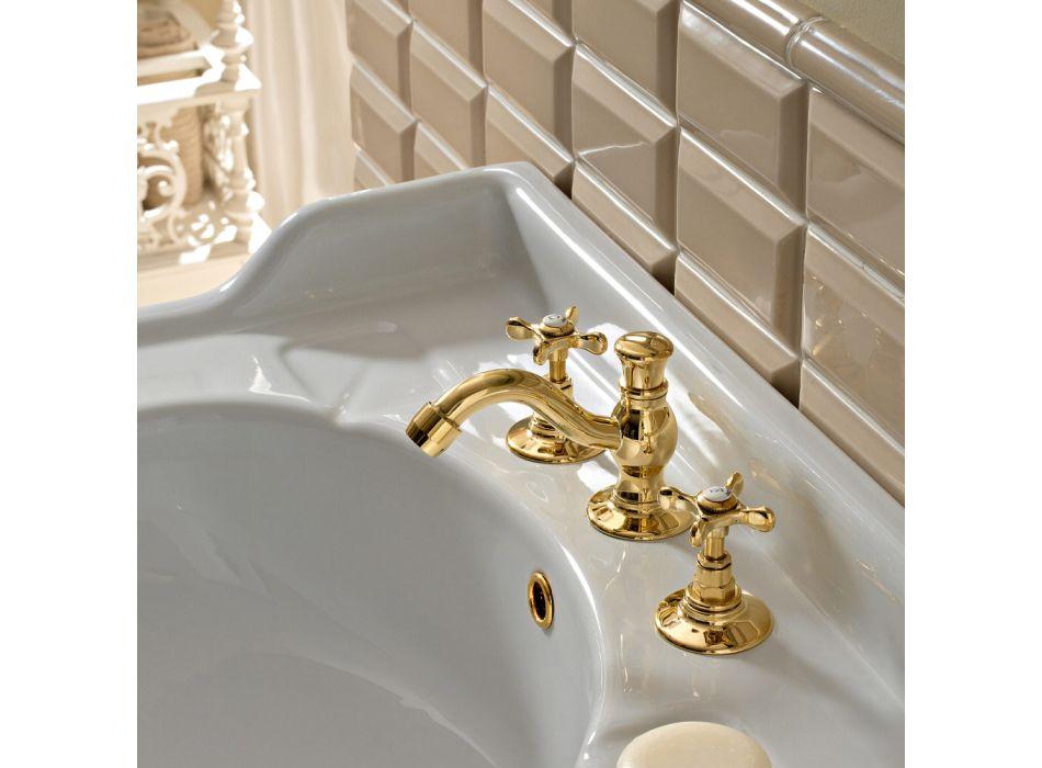 3-Loch-Waschtischmischer mit klassischem handgemachtem Messingablauf - Fioretta