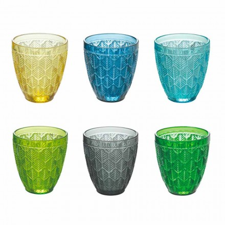 Farbige Glaswassergläser mit Blattdekoration, 12 Stück - Indonesien