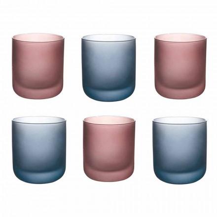 Farbige Wassergläser aus Milchglas mit Eiseffekt, 12 Stück - Norvegio