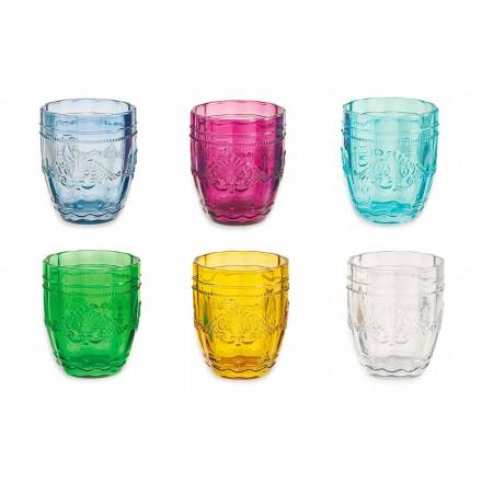 Farbige und elegante Gläser in Glas Service von 12 Stück für Wasserschraube