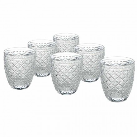 Transparente Glaswassergläser mit geschnitzten Verzierungen 12 Stück - Rocca