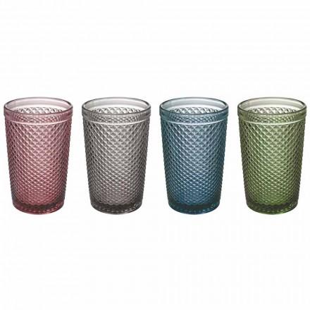 Wasser- oder Trinkgläser aus farbigem und verarbeitetem Glas, 8 Stück - Pastille