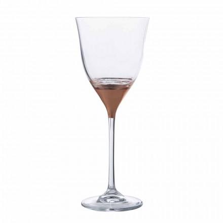 Kristallglas Wasserbecher in Gold Bronze oder Platin 12 Stück - Soffio