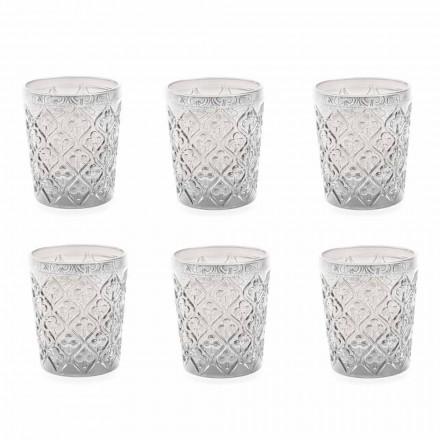 Transparente Glasgläser mit Dekorationen, 12-teiliger Wasserservice - Marokko