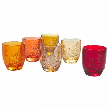 Farbige Glaswassergläser mit Korallendekor, 12 Stück - Purpur