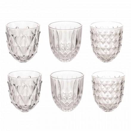 Gläser für Wasser in transparentem Glas und Reliefdekor 12 Stück - Angers