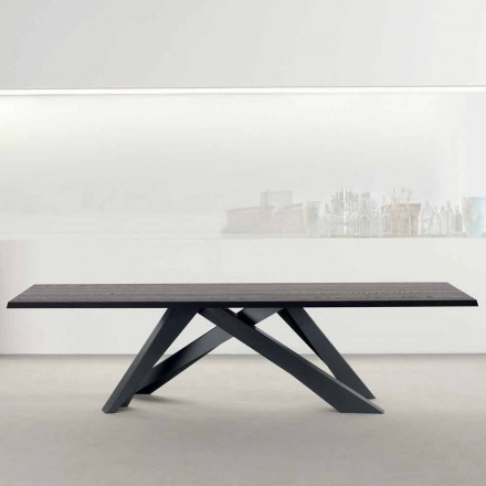 Bonaldo Big Table Tisch aus anthrazitgrauem Massivholz made in Italy
