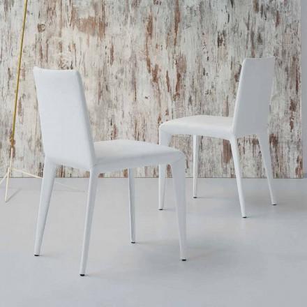 Bonaldo Filly gepolsterter Stuhl aus weißem Leder,Design made in Italy