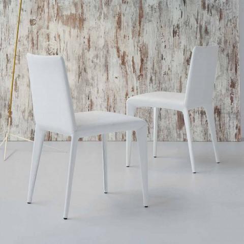 Bonaldo Filly gepolsterter Designstuhl aus weißem Leder, hergestellt in Italien