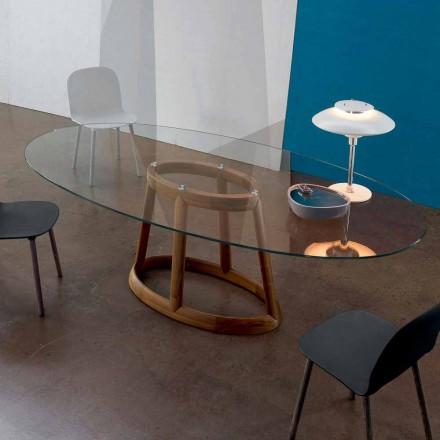 Bonaldo Greeny ovaler Tisch aus Kristall und Holz,Design made in Italy