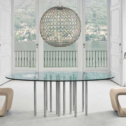 Bonaldo Mille runder Tisch aus Kristall und chromatischem Stahl, Italy