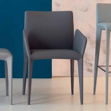Bonaldo Miss Filly gepolsterter Stuhl aus Leder mit Armlehnen,Italy