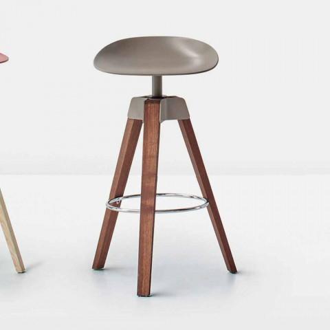 Bonaldo Plumage Drehhocker aus Stahl und Holz made in Italy
