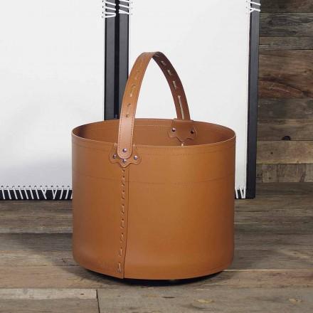 Holzkorb aus Leder Milo 100% Made in Italy