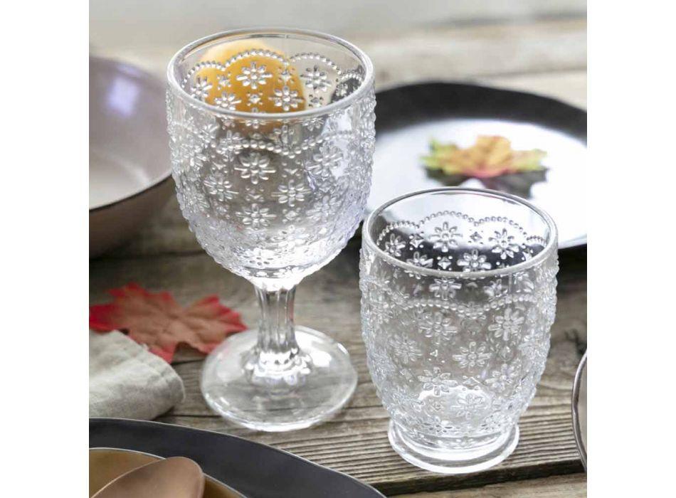 Becherglas aus transparentem Glas mit Reliefdekorationen, 12 Stück - Trapani
