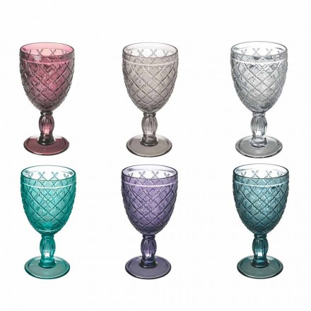 Wein- oder Wasserbecher aus farbigem oder transparentem Glas mit Dekorationen, 12 Stück - Rocca