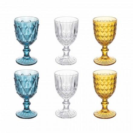 Farbige Glasbecher aus Relief verziertem Glas, 12 Stück - Angers