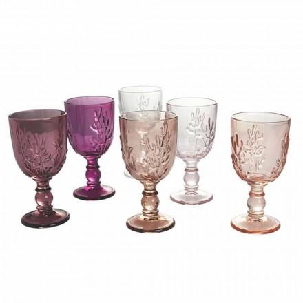 Farbige Becher in Glas- und Korallendekoration, 12 Stück - Purpur