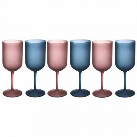Farbige Weingläser aus Milchglas mit Eiseffekt 12 Stück - Norvegio
