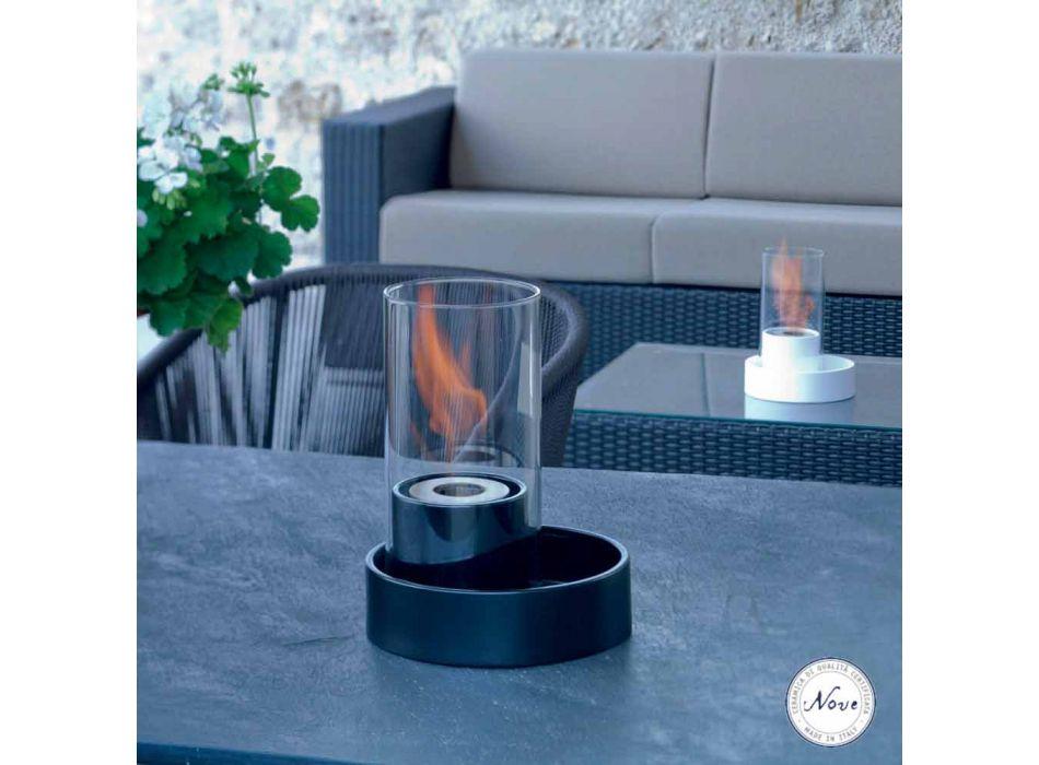 Kamin mit Keramik und Glastisch Bioethanol Jim, made in Italy