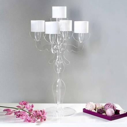 Reinassance kleiner Kerzenhalter, 5 Arme aus Plexiglas, Nulvi