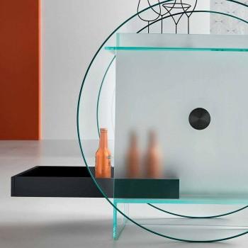 Barwagen aus extra klarem Glas mit Rollen und herausziehbarem Tablett - Pigolo