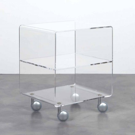 Vielzweckwagen in transparentem Methacrylat 4 Fächer und Räder Rob