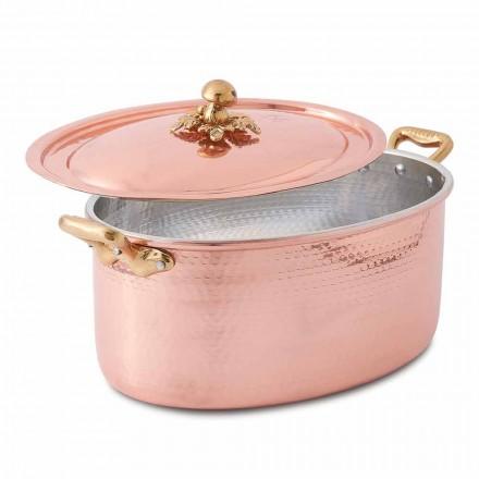 Ovaler handverzinnter Kupferauflauf für Ofen und Deckel 37x26 cm - Mariag