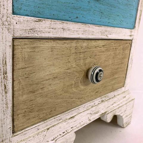 Artisan Kommode mit 4 Schubladen aus weißem Holz Made in Italy - Manhattan