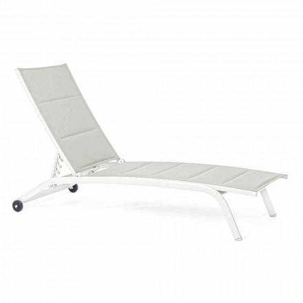 Outdoor Chaise Longue aus Textilene und Aluminium mit Rädern, 4 Stück - Babilonia