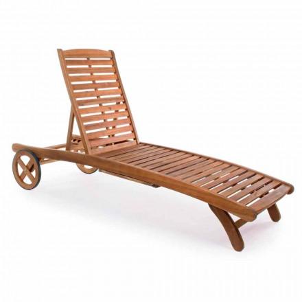 Garten Chaiselongue aus Holz mit Designrädern für den Außenbereich - Roxen