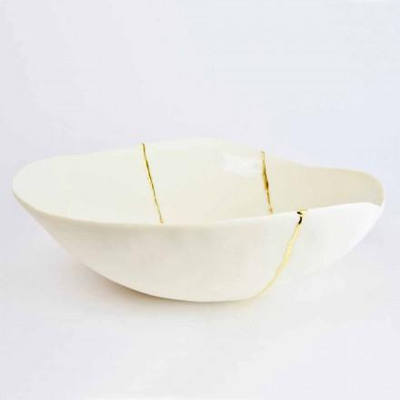 Schalen aus weißem Porzellan und Blattgold Italienisches Luxus-Design - Cicatroro