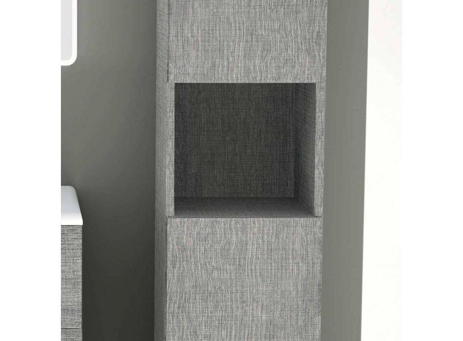 Badezimmersäule mit 2 Türen in modernem Design Öko-Holz Ambra, made in Italy