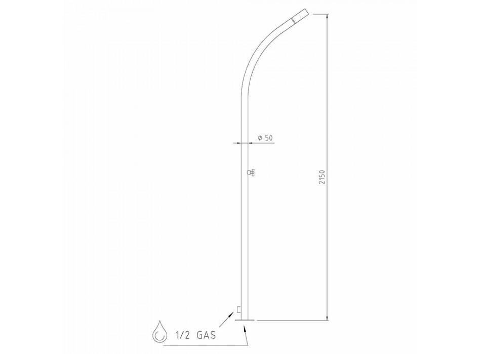 Außenduschsäule aus Stahl mit eingebautem Duschkopf Made in Italy - Yuki