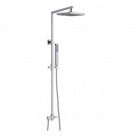 Messing-Duschsäule mit quadratischem Duschkopf aus Stahl Made in Italy - Regino