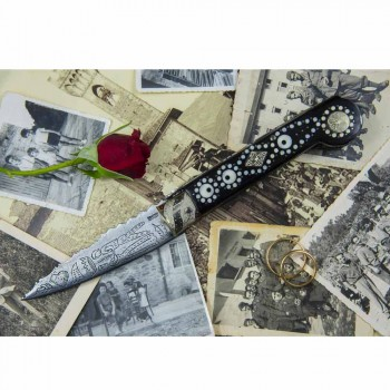 Antikes handgefertigtes Liebesmesser aus Horn und Stahl Made in Italy - Amour