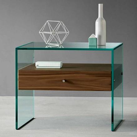 Beistelltisch aus modernem Design aus extraklarem Glas Made in Italy - Segreto